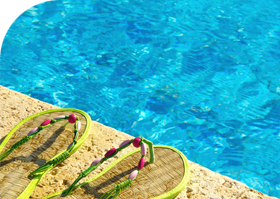 Flip Flops by Heated Pool